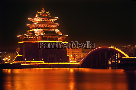 ancient temple night reflection bridge jinming