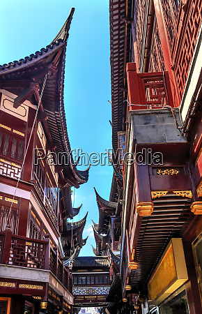old shanghai houses red roofs narrow