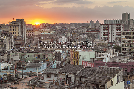 cuba havana the sun sets over