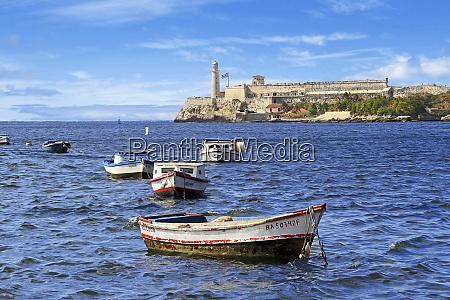 cuba, , havana., boats, float, in, front - 27329026