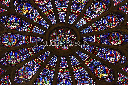 north rose window virgin mary jesus