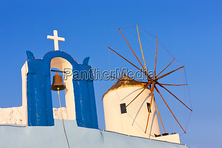 church bell tower and windmill on