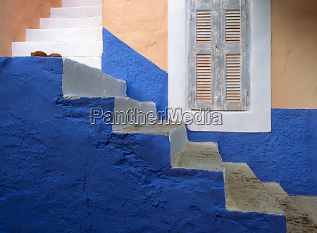 greece symi blue and white stairway