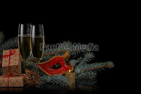 sekt neues jahr und weihnachten