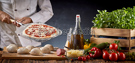 chef at a restaurant making an