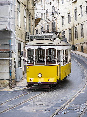 view of yellow tramway in lisbon