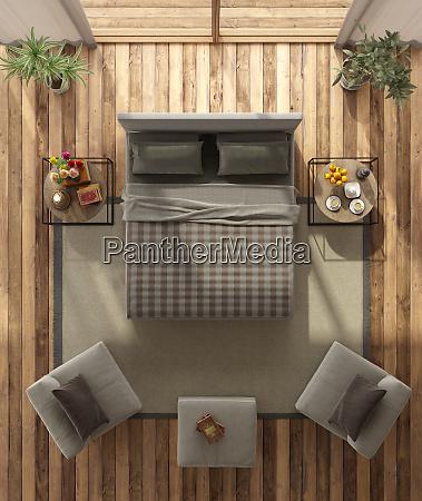 blick auf ein modernes hauptschlafzimmer