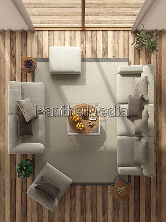 blick auf ein minimalistisches wohnzimmer