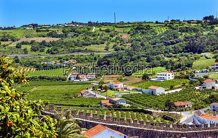 castle walls countryside farmland medieval town
