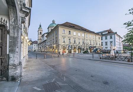 slovenia ljubljana old town at dawn