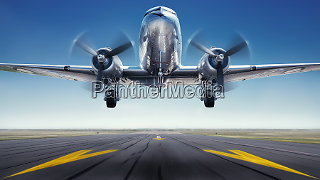 historical aircraft while take off from
