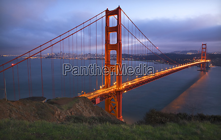 golden gate bridge headlands evening with