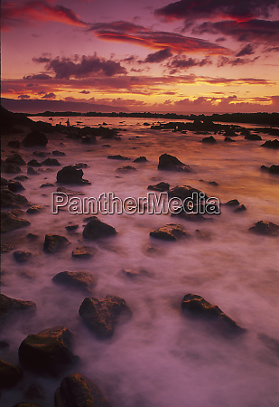 rock formations storm surf near pupukea