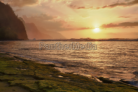 usa hawaii kauai coast sunset along