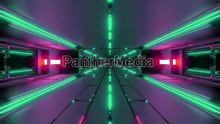 dunkle futuristische raum tunnel korridor 3d