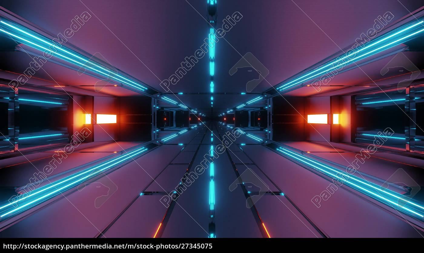 dunkle, futuristische, raum, tunnel, korridor, 3d - 27345075