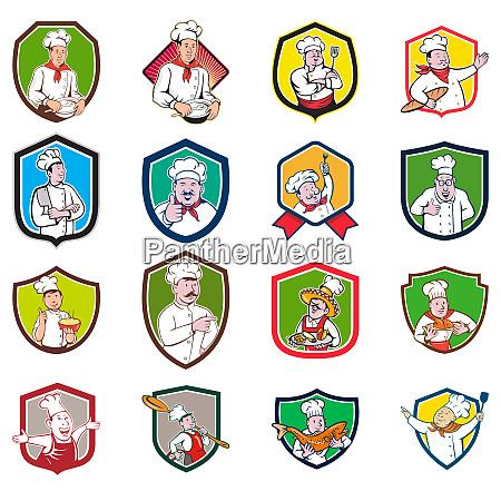 chef baker cook crest cartoon set