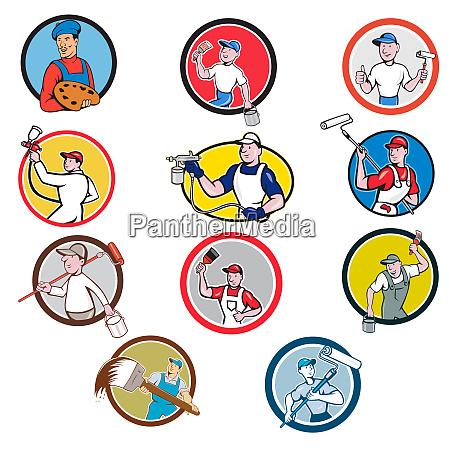 painter icon cartoon circle set