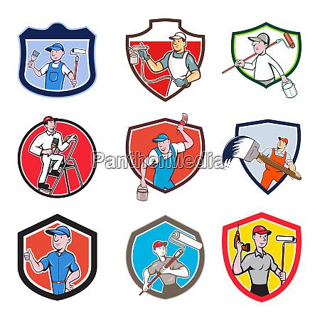 painter cartoon crest set