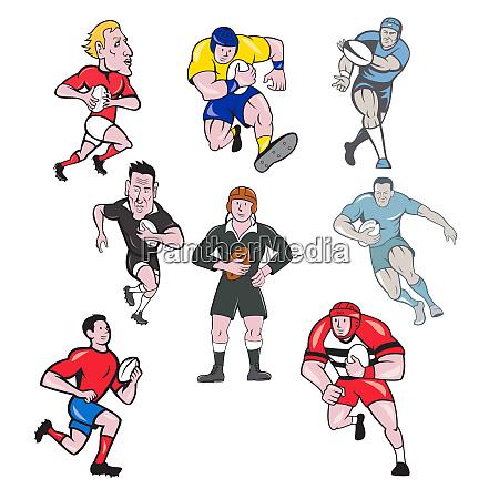 rugby player mascot cartoon set