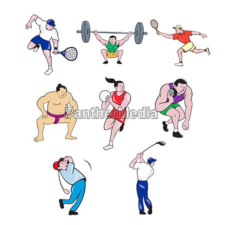 sports mascot cartoon set