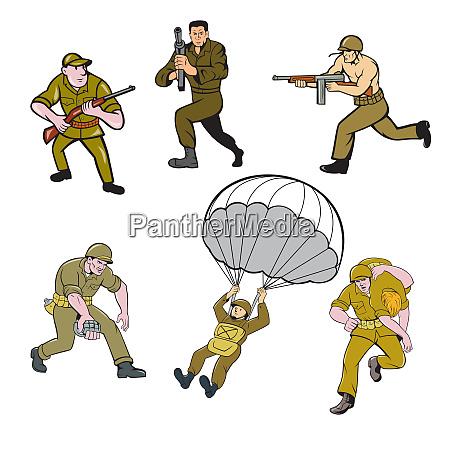 world war two soldier cartoon set