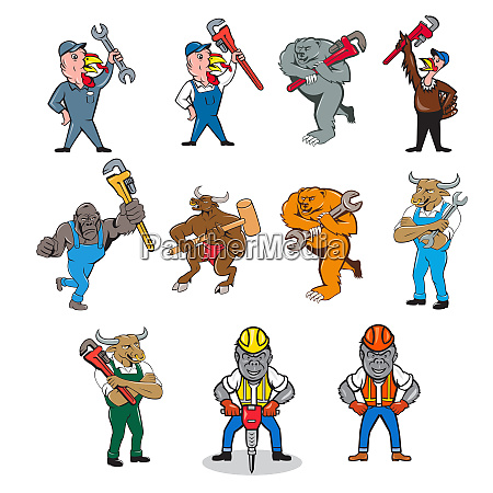 animal tradesman mascot cartoon set