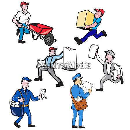 delivery person mascot cartoon set