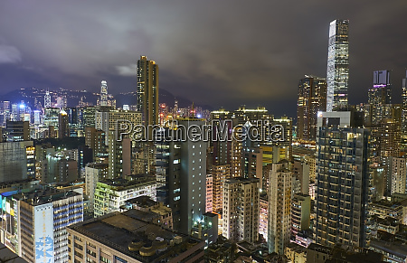 city view in the evening kowloon