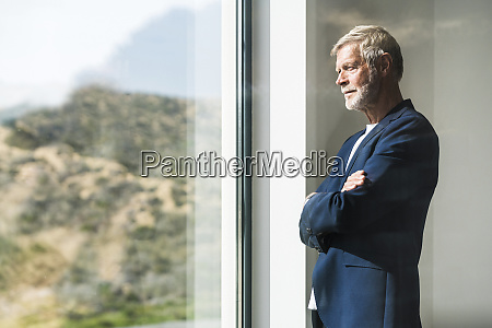 senior businessman standing at panorama window