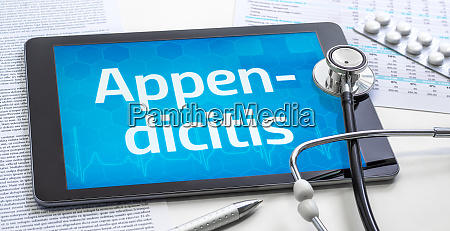 the word appendicitis on the display