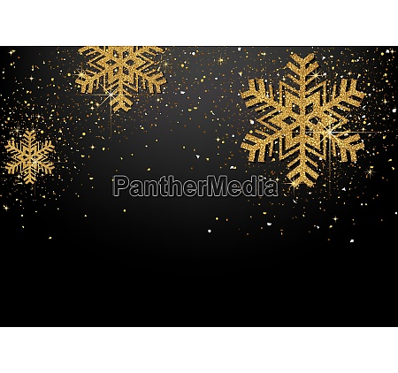 background with golden glittering snowflakes