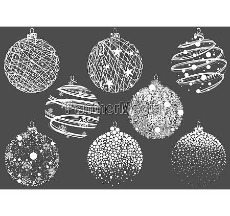satz von abstrakten weihnachtskugeln