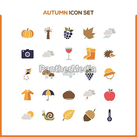 flat autumn icon set isolated vector