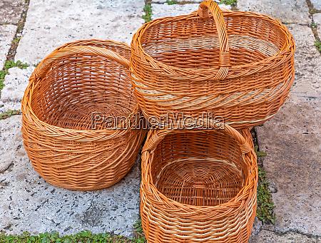 baskets for sale on a market