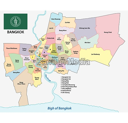 bangkok administrative and political map with