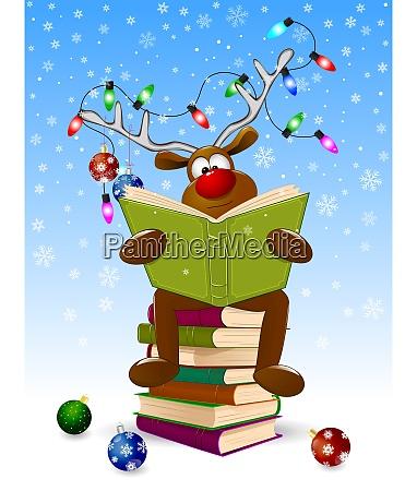 reinde lesen ein weihnachtsbuch