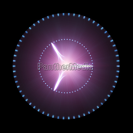 glowing purple disk with light beams