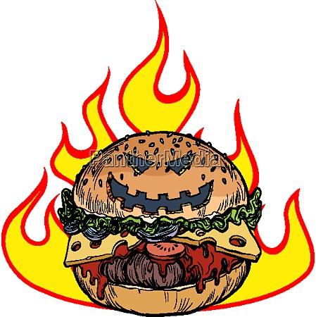 halloween burger in den flammen der