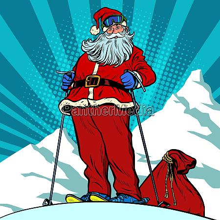 skifahrer in den bergen weihnachtsmann charakter