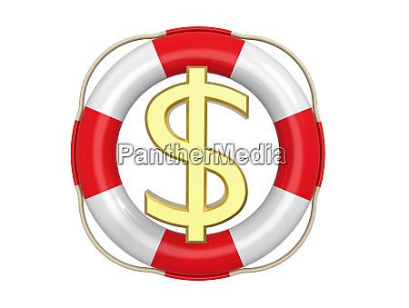 amerikanischer dollar mit rettungsboje 3d rendering