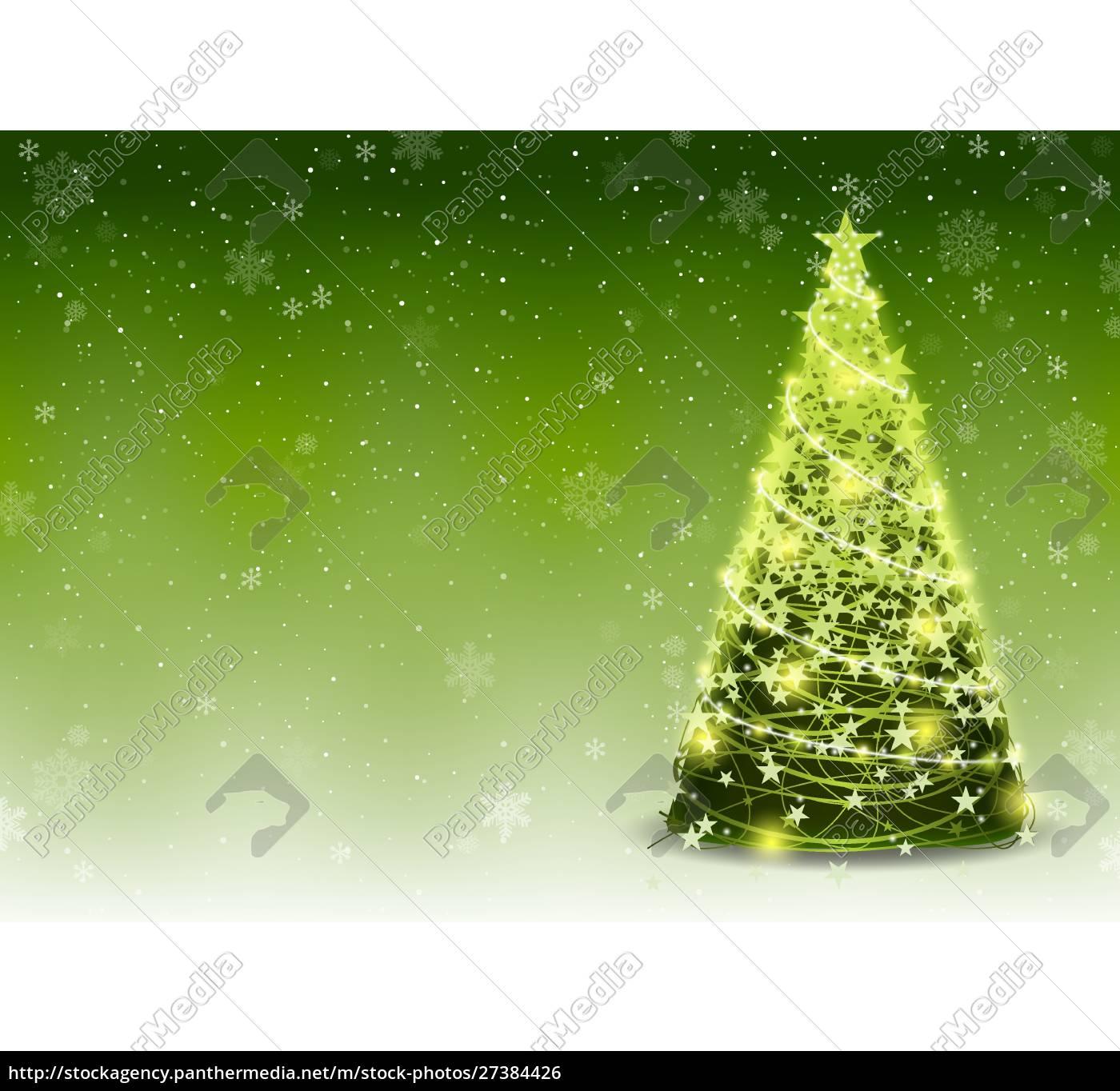 grüner, weihnachtsbaum, hintergrund, mit, fallenden, schneeflocken - 27384426