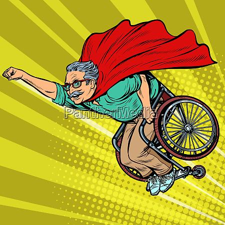 mann pensionierter superheld behindert im rollstuhl