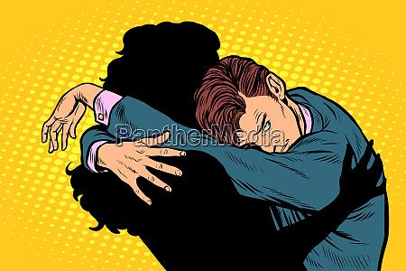 ein mann traeumt von der umarmung
