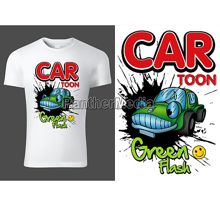 white t shirt design with cartoon