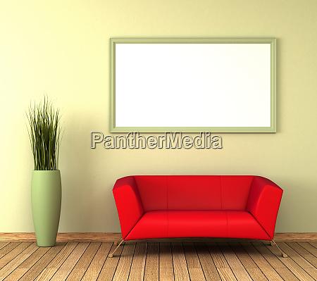 einzelnes rotes sofa