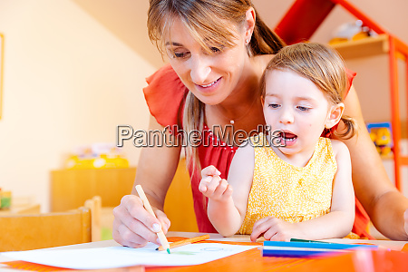 children and play school teacher drawing