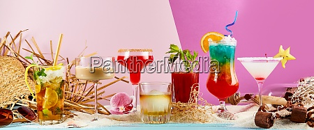 large variety of exotic summer cocktails