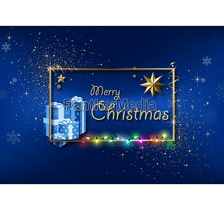 blue xmas greeting with gold frame