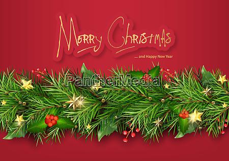 rote, weihnachten, hintergrund, mit, weihnachtsbaum, zweige - 27404805